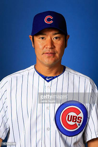Pitcher Hisanori Takahashi poses during Chicago Cubs photo day on February 18 2013 at HoHoKam Park in Mesa Arizona