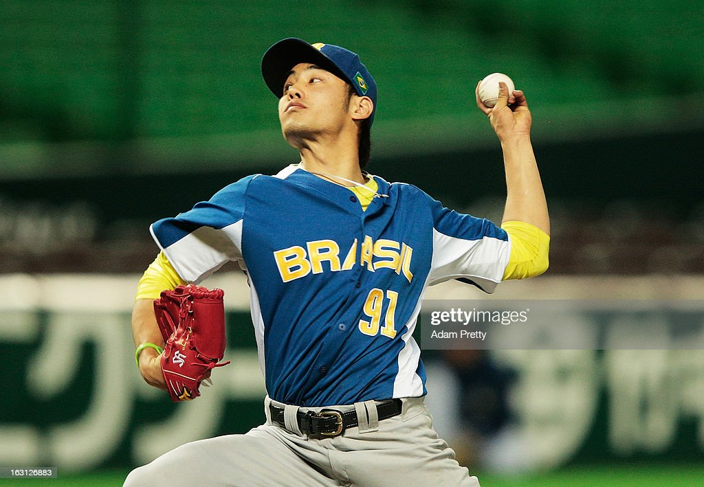 Pitcher Hugo Kanabushi #91 of Brazil pitches during the World Baseball Classic First Round Group A game between China and Brazil at Fukuoka Yahoo! Japan Dome on March 5, 2013 in Fukuoka, Japan.