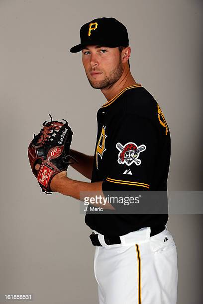 Pitcher Hunter Strickland of the Pittsburgh Pirates poses for a photo during photo day at Pirate City on February 17 2013 in Bradenton Florida