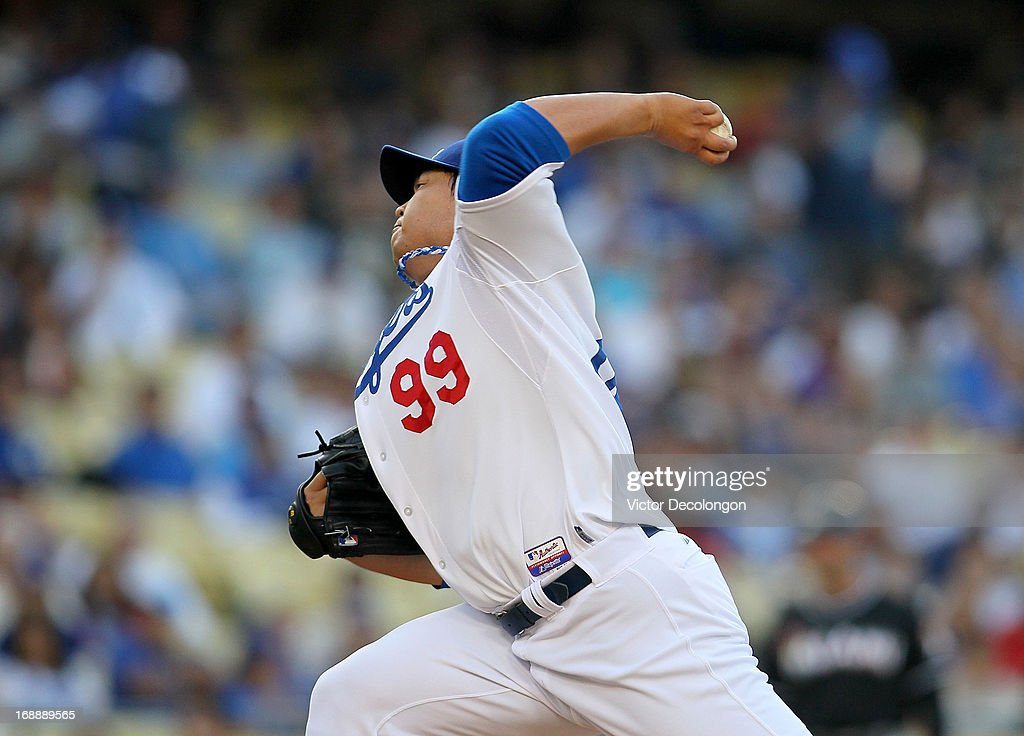 Pitcher Hyun-Jin Ryu #99 of the Los Angeles Dodgers pitches against the Miami Marlins during the MLB game at Dodger Stadium on May 11, 2013 in Los Angeles, California.