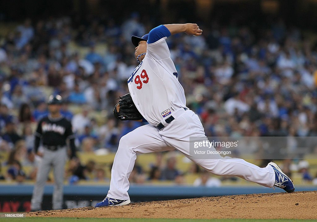 Pitcher Hyun-Jin Ryu #99 of the Los Angeles Dodgers pitches in the fifth inning against the Miami Marlins during the MLB game at Dodger Stadium on May 11, 2013 in Los Angeles, California. The Dodgers defeated the Marlins 7-1.