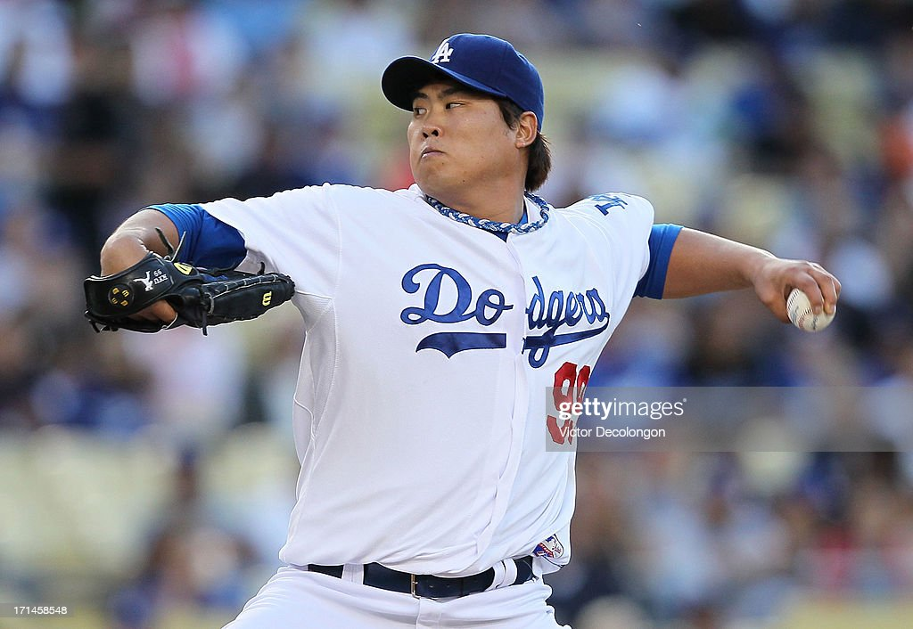 Pitcher Hyun-Jin Ryu #99 of the Los Angeles Dodgers pitches in the first inning during the MLB game against the San Francisco Giants at Dodger Stadium on June 24, 2013 in Los Angeles, California.