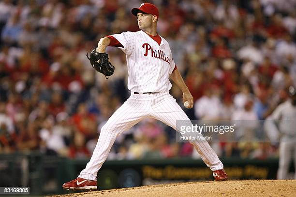 Pitcher JA Happ of the Philadelphia Phillies throws a pitch during a game against the Florida Marlins on September 9 2008 at Citizens Bank Park in...