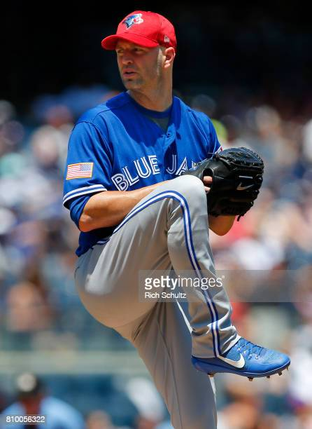 Pitcher JA Happ of the Toronto Blue Jays in action against the New York Yankees during a game at Yankee Stadium on July 4 2017 in the Bronx borough...