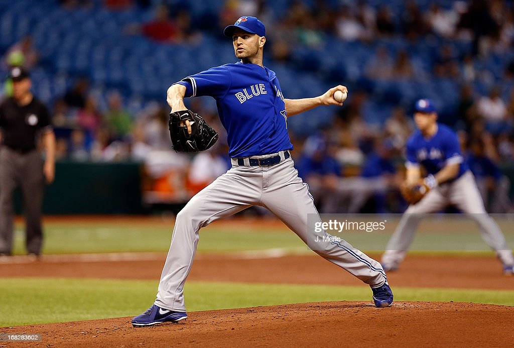 Pitcher J.A. Happ #48 of the Toronto Blue Jays pitches against the Tampa Bay Rays during the game at Tropicana Field on May 7, 2013 in St. Petersburg, Florida.
