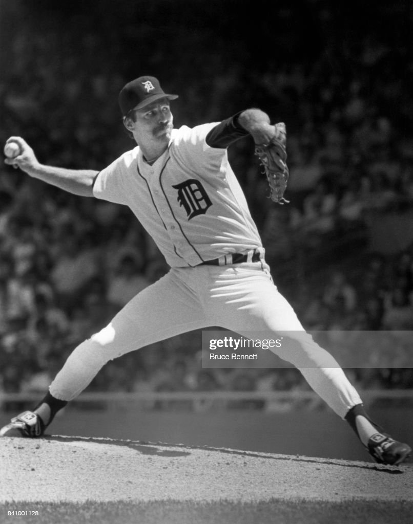Pitcher Jack Morris #47 of the Detroit Tigers throws a pitch during an MLB game circa 1985 at Tiger Stadium in Detroit, Michigan.