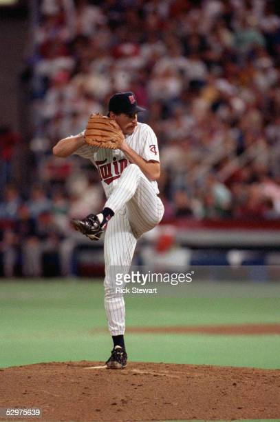 Pitcher Jack Morris of the Minnesota Twins delivers a pitch against the Atlanta Braves at the Metrodome in Minneapolis Minneapolis on October 27 1991...