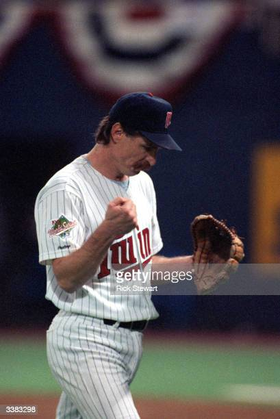 Pitcher Jack Morris of the Minnesota Twins pumps his fist during the 1991 World Series game against the Atlanta Braves in October of 1991 at the...