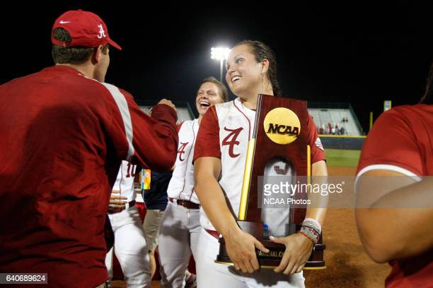 Pitcher Jackie Traina of the University of Alabama celebrates after defeating the University of Oklahoma during the Division I Women's Softball...