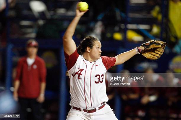 Pitcher Jackie Traina of the University of Alabama pitches against the University of Oklahoma during the Division I Women's Softball Championship...
