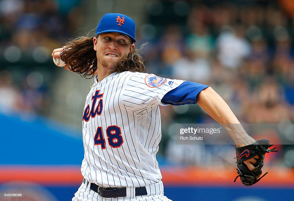 Pitcher Jacob deGrom #48 of the New York Mets delivers a pitch against the Miami Marlins in the first inning during a game at Citi Field on July 6, 2016 in the Flushing neighborhood of the Queens borough of New York City.