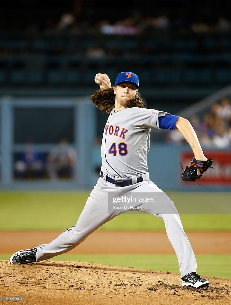 Pitcher Jacob deGrom of the New York Mets pitches in the first inning against the Los Angeles Dodgers in game one of the National League Division...