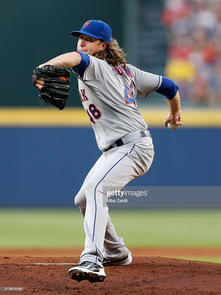 Pitcher Jacob deGrom of the New York Mets throws a pitch in the first inning during the game against the Atlanta Braves at Turner Field on June 19...