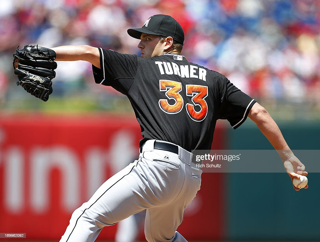 Pitcher <a gi-track='captionPersonalityLinkClicked' href=/galleries/search?phrase=Jacob+Turner+-+Baseball+Player&family=editorial&specificpeople=6265113 ng-click='$event.stopPropagation()'>Jacob Turner</a> #33 of the Miami Marlins pitches against the Philadelphia Phillies on June 5, 2013 at Citizens Bank Park in Philadelphia, Pennsylvania.