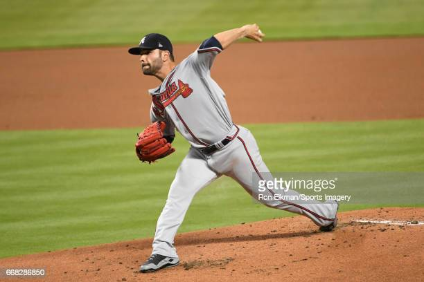 Pitcher Jaime Garcia of the Atlanta Braves pitches during a MLB game against the Miami Marlins at Marlins Park on April 12 2017 in Miami Florida