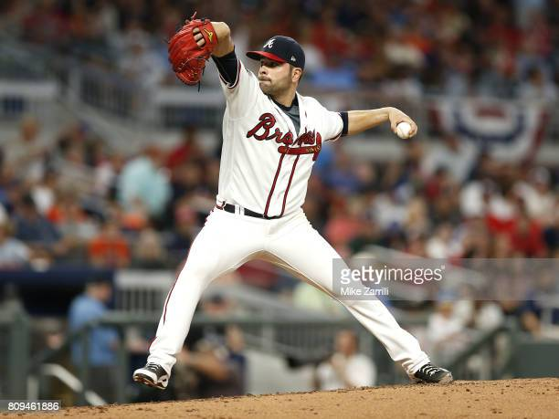 Pitcher Jaime Garcia of the Atlanta Braves throws a pitch in the fifth inning during the game against the Houston Astros at SunTrust Park on July 5...