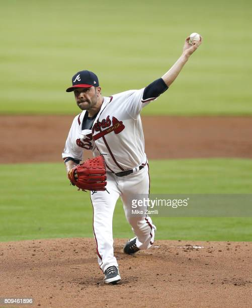Pitcher Jaime Garcia of the Atlanta Braves throws a pitch in the first inning during the game against the Houston Astros at SunTrust Park on July 5...