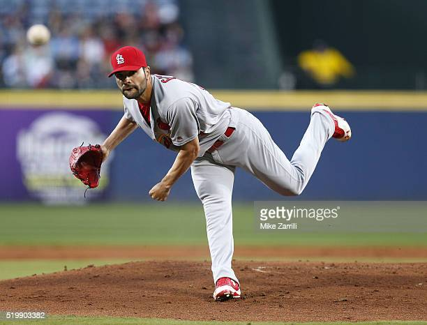 Pitcher Jaime Garcia of the St Louis Cardinals throws a pitch in the first inning during the game against the Atlanta Braves at Turner Field on April...