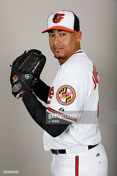 Pitcher Jair Jurrjens of the Baltimore Orioles poses for a photo during photo day at Ed Smith Stadium on February 22 2013 in Sarasota Florida