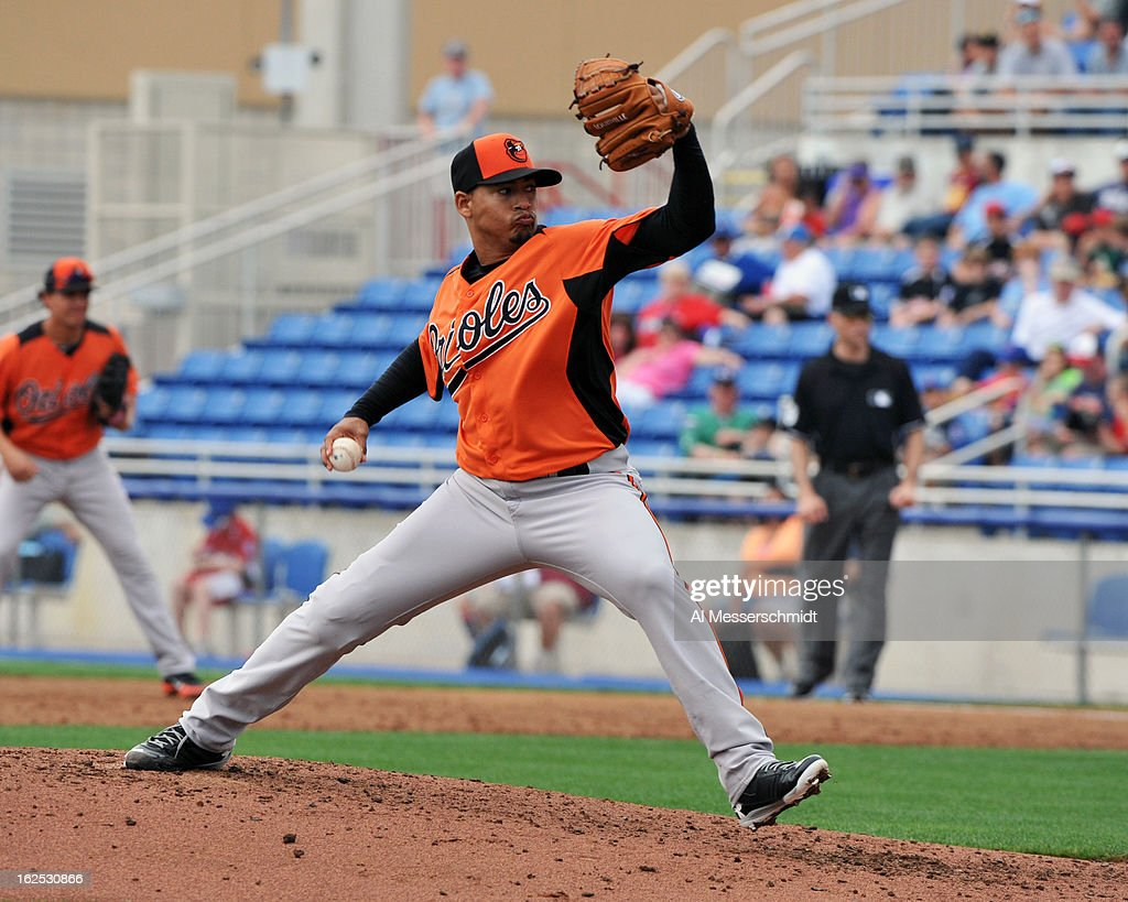 Pitcher <a gi-track='captionPersonalityLinkClicked' href=/galleries/search?phrase=Jair+Jurrjens&family=editorial&specificpeople=844086 ng-click='$event.stopPropagation()'>Jair Jurrjens</a> #48 of the Baltimore Orioles starts against the Toronto Blue Jays February 24, 2013 at the Florida Auto Exchange Stadium in Dunedin, Florida.