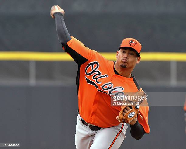 Pitcher Jair Jurrjens of the Baltimore Orioles starts against the Toronto Blue Jays February 24 2013 at the Florida Auto Exchange Stadium in Dunedin...