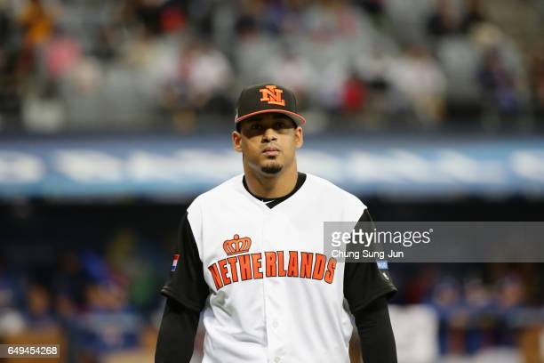 Pitcher Jair Jurrjens of the Netherlands reacts after the top of the first inning during the World Baseball Classic Pool A Game Four between Chinese...