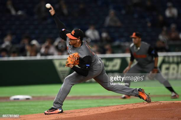 Pitcher Jair Jurrjens of the Netherlands throws in the bottom of the first inning during the World Baseball Classic Pool E Game Three between...