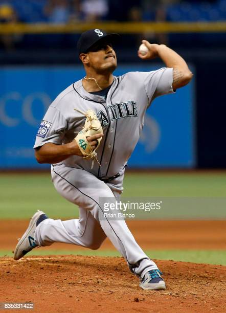 Pitcher James Pazos of the Seattle Mariners pitches during the seventh inning of a game against the Tampa Bay Rays on August 18 2017 at Tropicana...