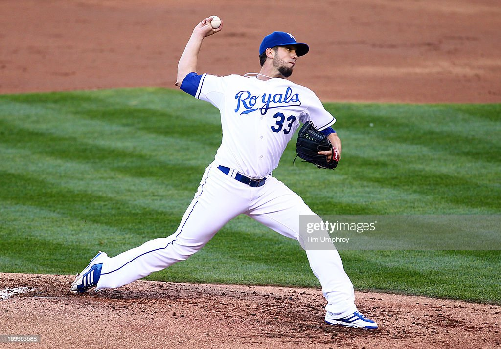 Pitcher James Shields #33 of the Kansas City Royals pitches against the Toronto Blue Jays at Kauffman Stadium on April 13, 2013 in Kansas City, Missouri. The Toronto Blue Jays defeated the Kansas City Royals 3-2.