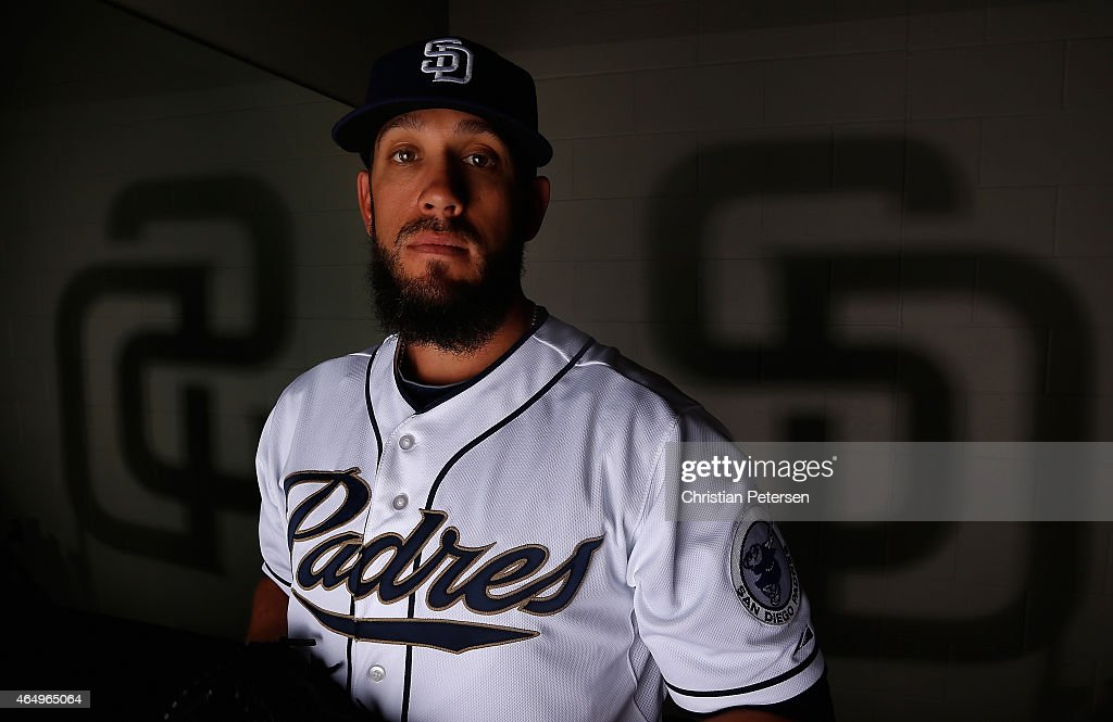 Pitcher <a gi-track='captionPersonalityLinkClicked' href=/galleries/search?phrase=James+Shields+-+Baseball+Player&family=editorial&specificpeople=8138267 ng-click='$event.stopPropagation()'>James Shields</a> #33 of the San Diego Padres poses for a portrait during spring training photo day at Peoria Stadium on March 2, 2015 in Peoria, Arizona.