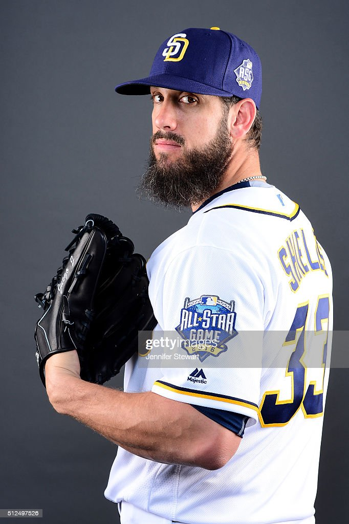 Pitcher <a gi-track='captionPersonalityLinkClicked' href=/galleries/search?phrase=James+Shields+-+Baseball+Player&family=editorial&specificpeople=8138267 ng-click='$event.stopPropagation()'>James Shields</a> #33 of the San Diego Padres poses for a portrait during spring training photo day at Peoria Sports Complex on February 26, 2016 in Peoria, Arizona.