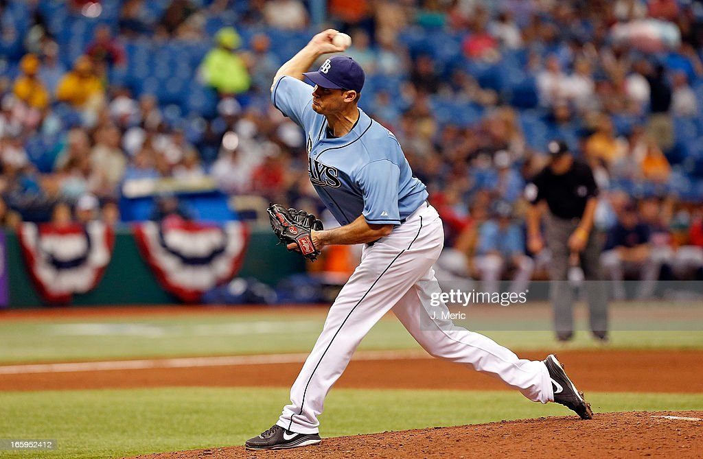 Pitcher <a gi-track='captionPersonalityLinkClicked' href=/galleries/search?phrase=Jamey+Wright&family=editorial&specificpeople=220683 ng-click='$event.stopPropagation()'>Jamey Wright</a> #35 of the Tampa Bay Rays pitches against the Cleveland Indians during the game at Tropicana Field on April 7, 2013 in St. Petersburg, Florida.