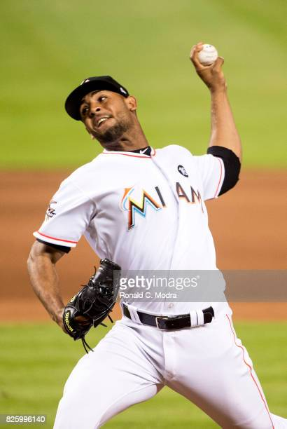 Pitcher Jarlin Garcia of the Miami Marlins pitches during a MLB game against the Washington Nationals at Marlins Park on July 31 2017 in Miami Florida