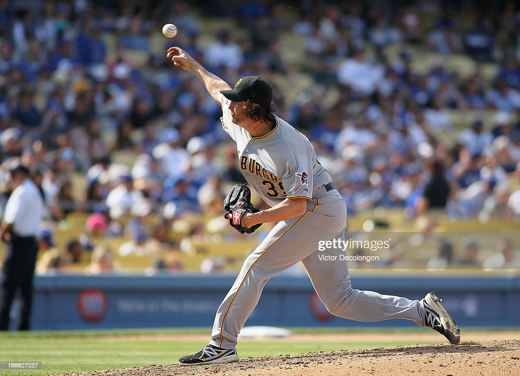 Pitcher Jason Grilli #39 of the Pittsburgh Pirates pitches in the eighth inning during the MLB game against the Los Angeles Dodgers at Dodger Stadium on April 7, 2013 in Los Angeles, California. The Dodgers defeated the Pirates 6-2.