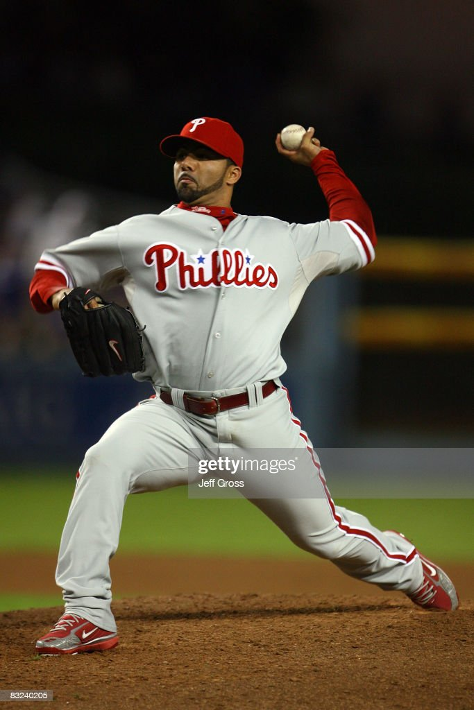 Pitcher JC Romero of the Philadelphia Phillies on the mound against the Los Angeles Dodgers in Game Three of the National League Championship Series...