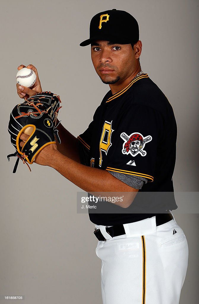 Pitcher Jeanmar Gomez #30 of the Pittsburgh Pirates poses for a photo during photo day at Pirate City on February 17, 2013 in Bradenton, Florida.