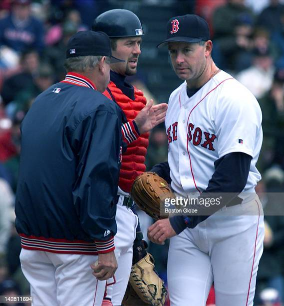 Pitcher Jeff Fassaro got the hook from Jimmy Williams in the sixth inning with catcher Jason Varitek nearby
