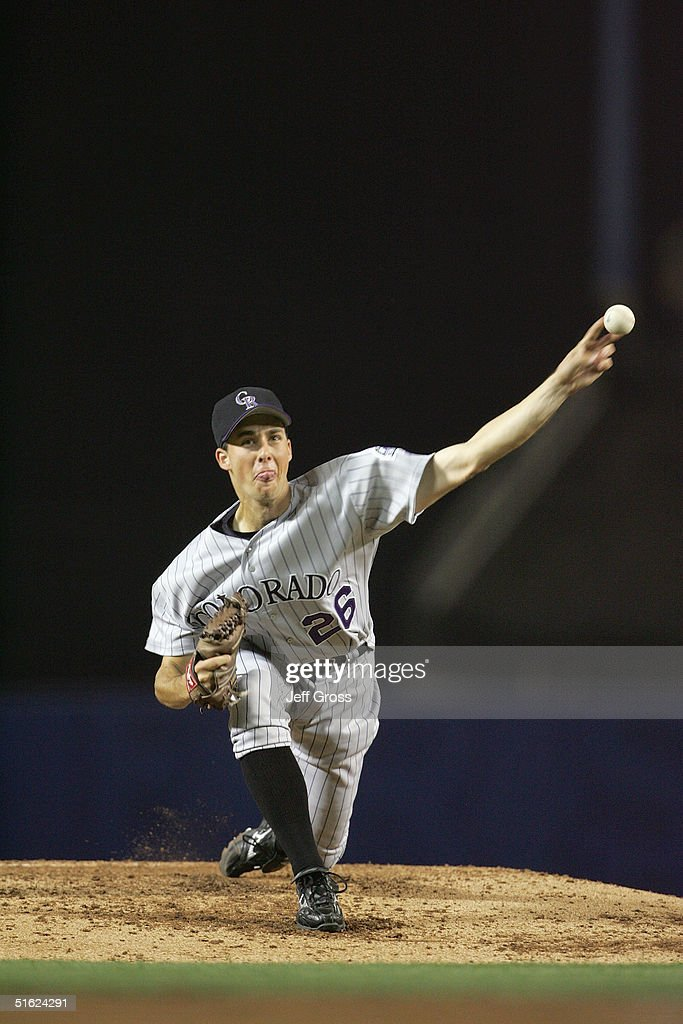 Pitcher Jeff Francis of the Colorado Rockies pitches during the game against the Los Angeles Dodgers at Dodger Stadium on September 29 2004 in Los...