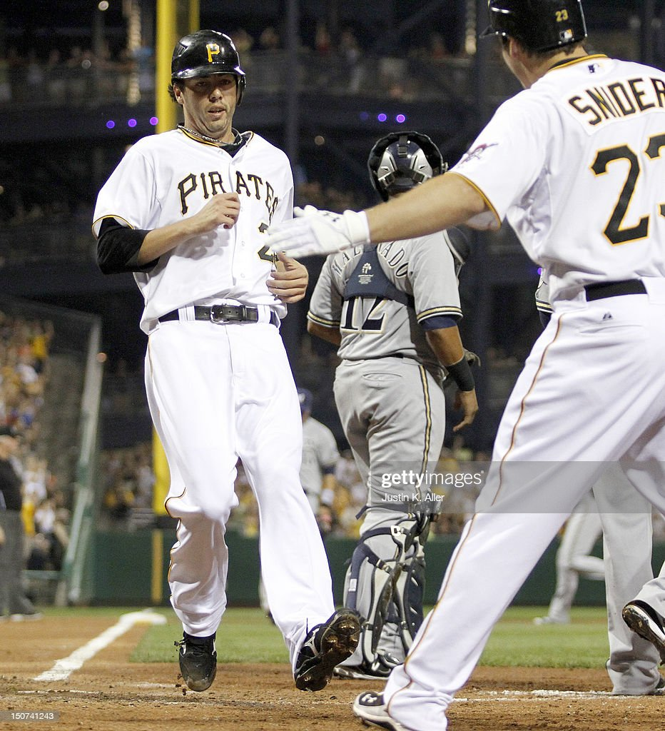 Pitcher <a gi-track='captionPersonalityLinkClicked' href=/galleries/search?phrase=Jeff+Karstens&family=editorial&specificpeople=2362445 ng-click='$event.stopPropagation()'>Jeff Karstens</a> #27 of the Pittsburgh Pirates scores on an RBI double in the fifth inning against the Milwaukee Brewers during the game on August 25, 2012 at PNC Park in Pittsburgh, Pennsylvania.