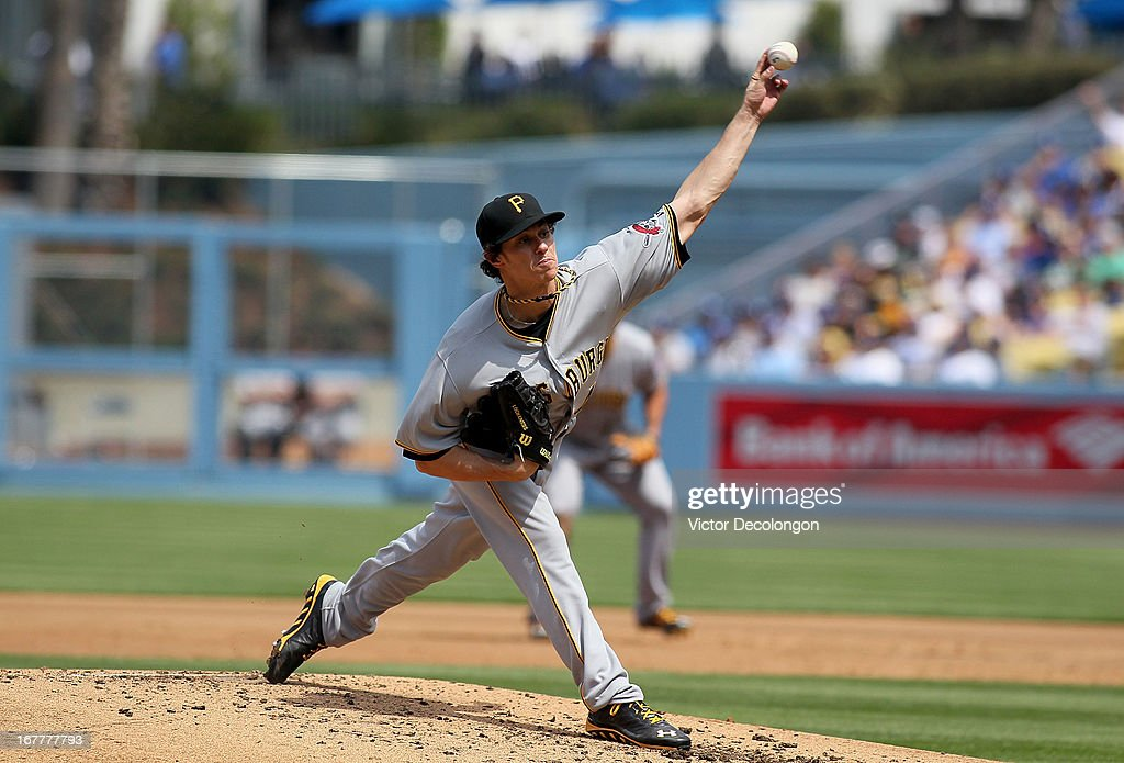 Pitcher Jeff Locke #49 of the Pittsburgh Pirates pitches against the Los Angeles Dodgers in the second inning during the MLB game at Dodger Stadium on April 7, 2013 in Los Angeles, California. The Dodgers defeated the Pirates 6-2.