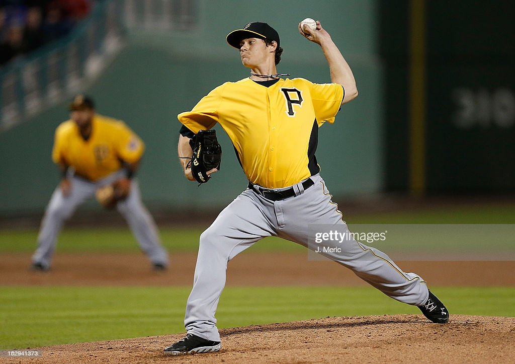Pitcher Jeff Locke #49 of the Pittsburgh Pirates pitches against the Boston Red Sox during a Grapefruit League Spring Training Game at JetBlue Park on March 1, 2013 in Fort Myers, Florida.