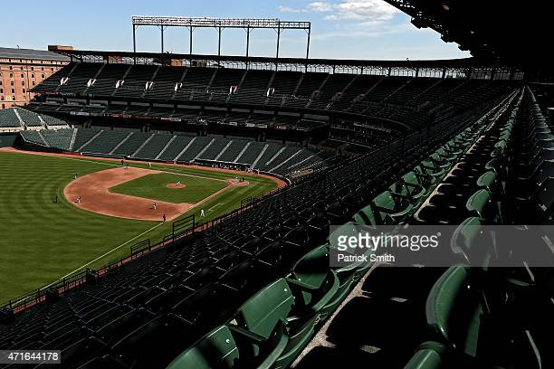 Pitcher Jeff Samardzija of the Chicago White Sox works batter Everth Cabrera of the Baltimore Orioles in the fifth inning an empty Oriole Park at...