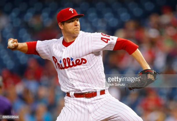 Pitcher Jerad Eickhoff of the Philadelphia Phillies delivers a pitch against the Colorado Rockies during the second inning of a game at Citizens Bank...