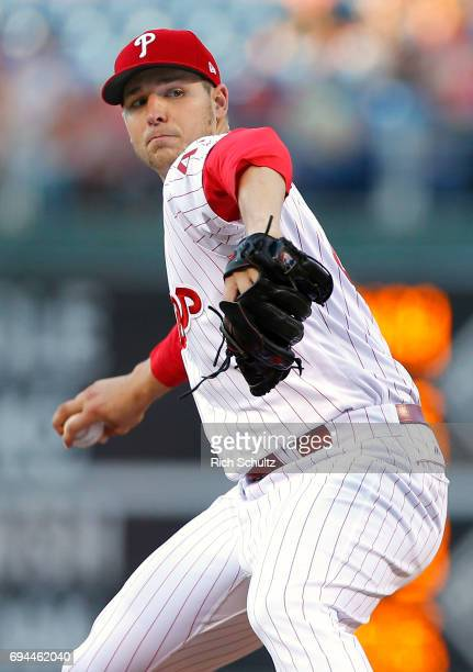Pitcher Jerad Eickhoff of the Philadelphia Phillies in action against the San Francisco Giants during a game at Citizens Bank Park on June 2 2017 in...