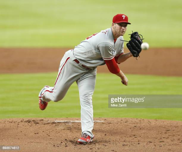 Pitcher Jerad Eickhoff of the Philadelphia Phillies throws a pitch in the first inning during the game against the Atlanta Braves at SunTrust Park on...