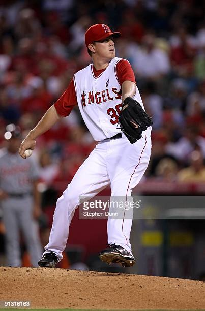Pitcher Jered Weaver of the Los Angeles Angels of Anaheim throws a pitch against the Detroit Tigers on August 24 2009 at Angel Stadium in Anaheim...