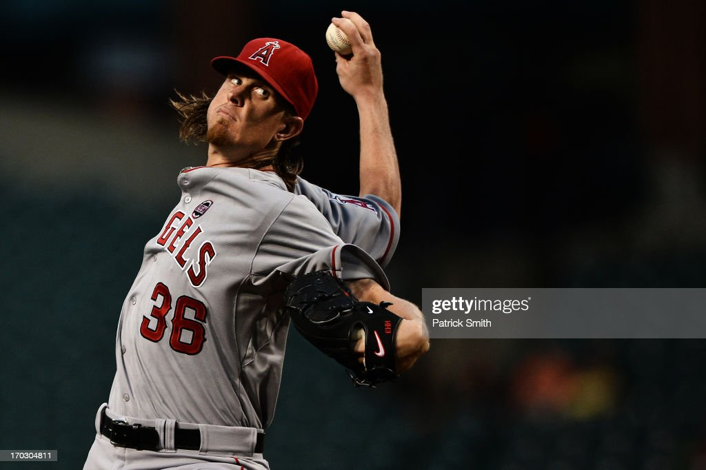 Pitcher <a gi-track='captionPersonalityLinkClicked' href=/galleries/search?phrase=Jered+Weaver&family=editorial&specificpeople=565100 ng-click='$event.stopPropagation()'>Jered Weaver</a> #36 of the Los Angeles Angels of Anaheim works the first inning against the Baltimore Orioles at Oriole Park at Camden Yards on June 10, 2013 in Baltimore, Maryland.