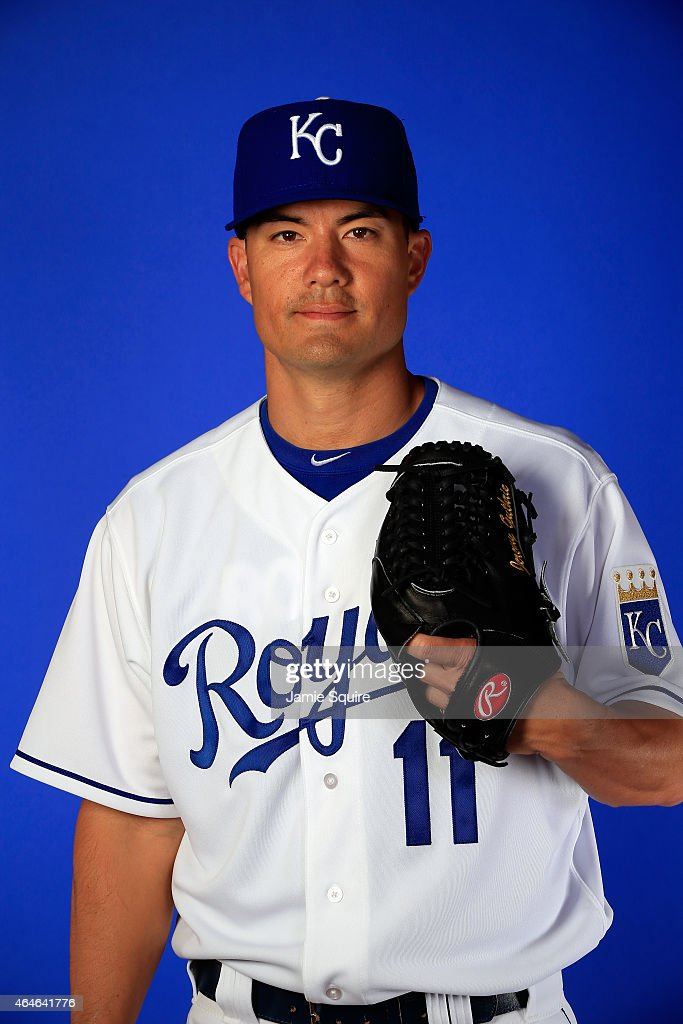 Pitcher <a gi-track='captionPersonalityLinkClicked' href=/galleries/search?phrase=Jeremy+Guthrie&family=editorial&specificpeople=650221 ng-click='$event.stopPropagation()'>Jeremy Guthrie</a> #11 during Kansas City Royals Photo Day on February 27, 2015 in Surprise, Arizona.