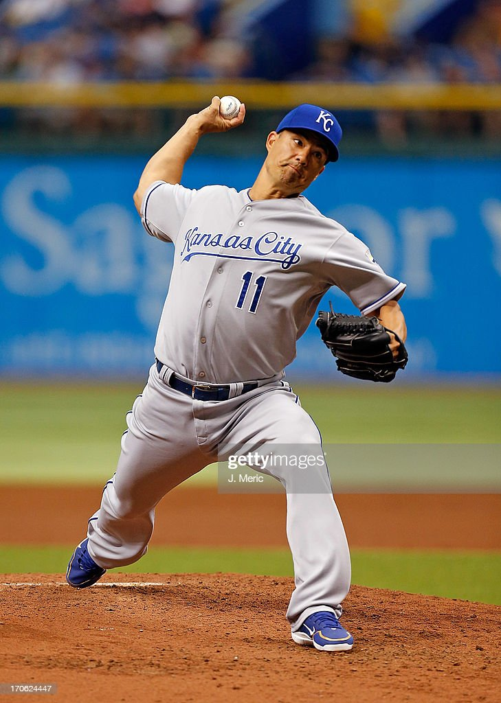 Pitcher <a gi-track='captionPersonalityLinkClicked' href=/galleries/search?phrase=Jeremy+Guthrie&family=editorial&specificpeople=650221 ng-click='$event.stopPropagation()'>Jeremy Guthrie</a> #11 of the Kansas City Royals pitches against the Tampa Bay Rays during the game at Tropicana Field on June 15, 2013 in St. Petersburg, Florida.