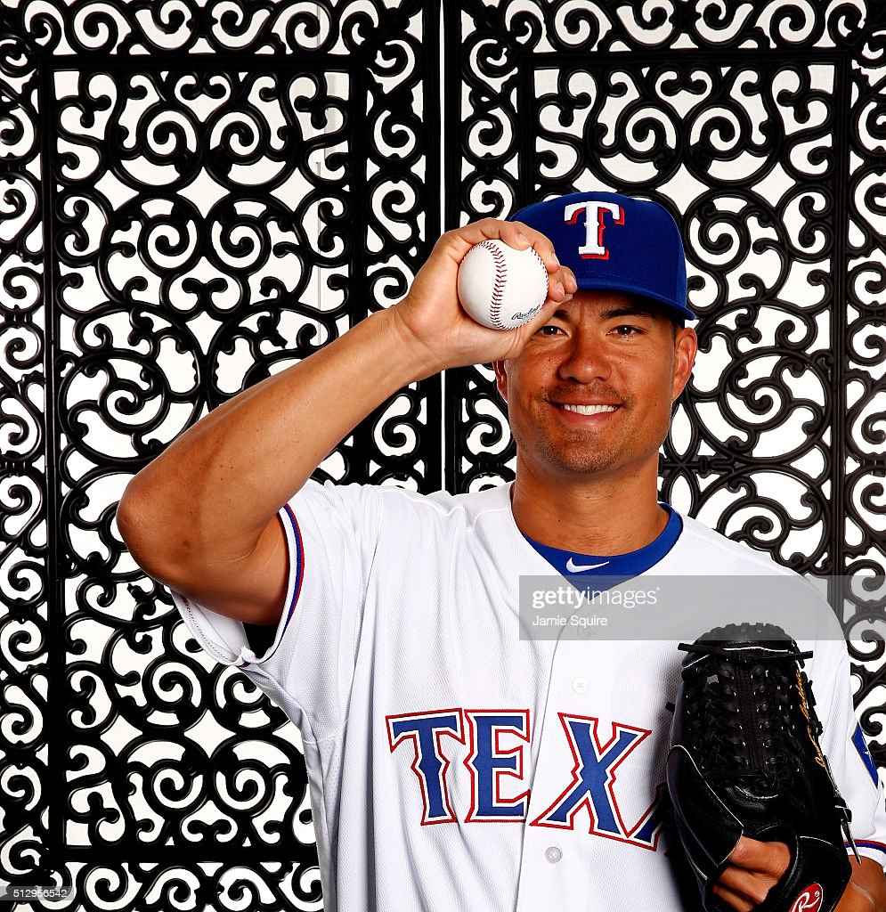 Pitcher <a gi-track='captionPersonalityLinkClicked' href=/galleries/search?phrase=Jeremy+Guthrie&family=editorial&specificpeople=650221 ng-click='$event.stopPropagation()'>Jeremy Guthrie</a> #51 of the Texas Rangers poses during a spring training photo shoot on February 28, 2016 in Surprise, Arizona.
